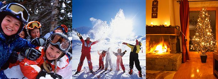 Family skiing at Christmas