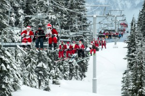 Santas on the ski lifts in Whistler