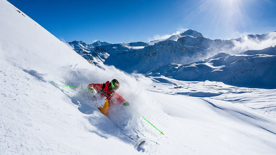 Skiing in Tignes, French Alps