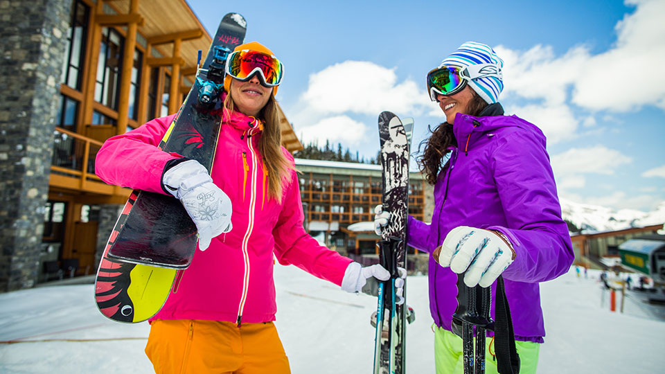 Female skiers at Sunshine Village