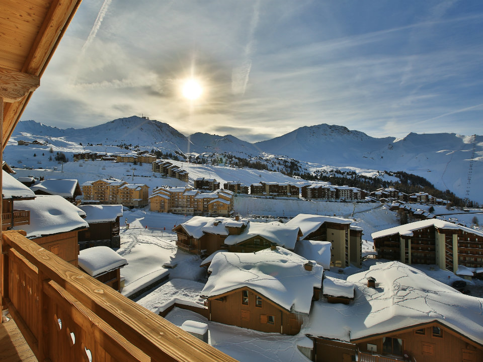 Chalet Campanula, La Plagne - A Chalet with a view across the resort from the balcony.