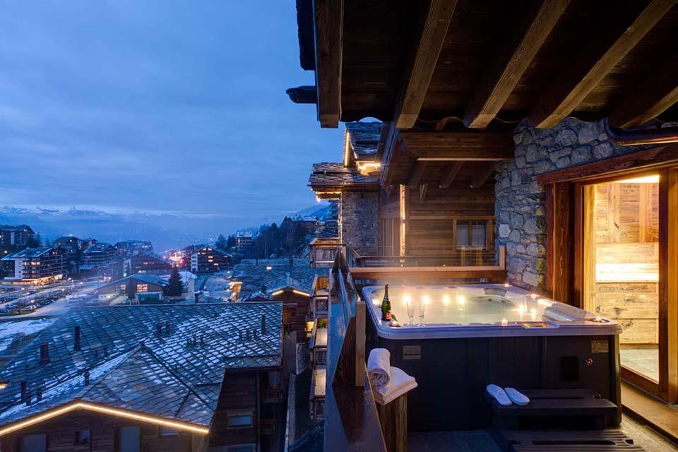 Hot Tub at luxury Chalet Altair in Nendaz, Switzerland