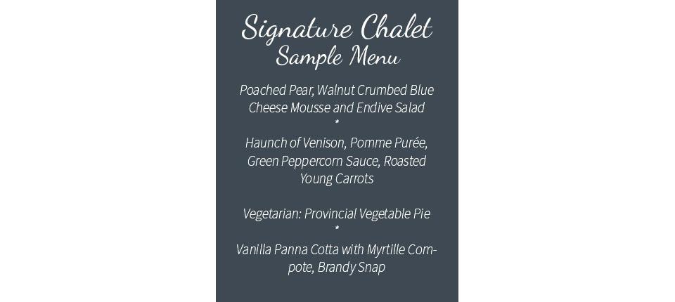 Signature Chalet - Sample menu - new
