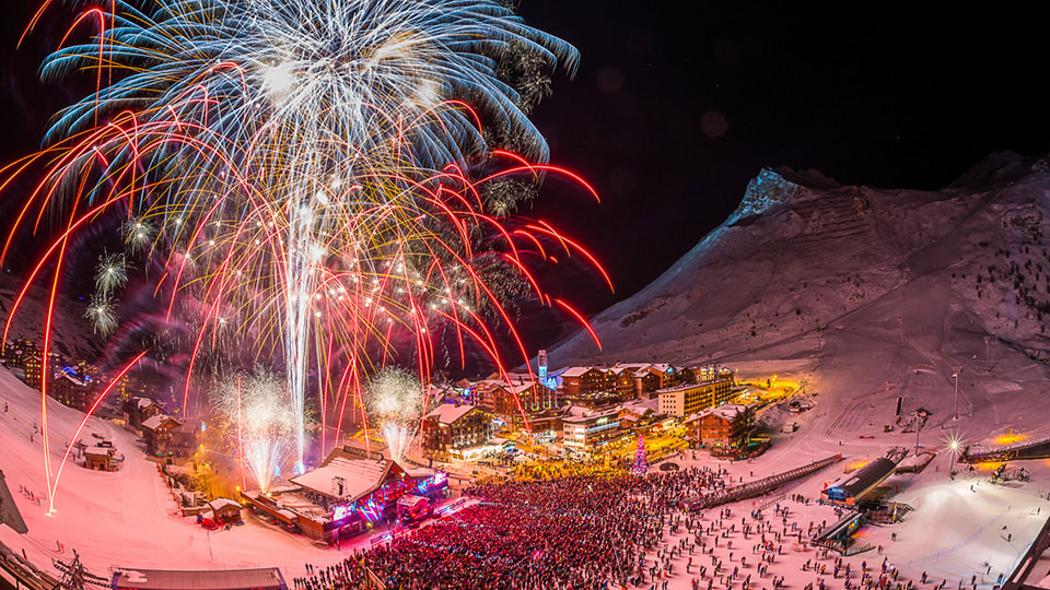 Tignes during New Year with Fireworks