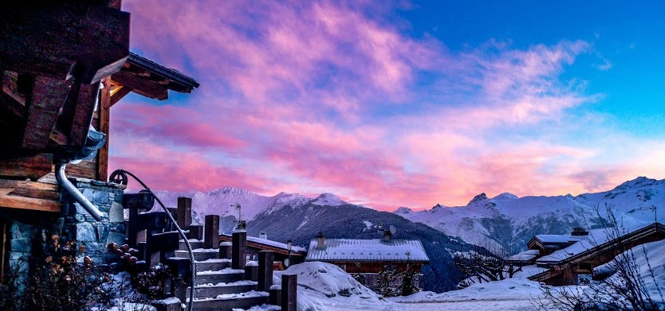 Alpenglow over Tignes, march and april ski holidays