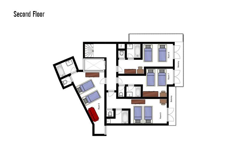 oor plan of Chalet Annapurna II, second floor - ski chalet in Tignes, France