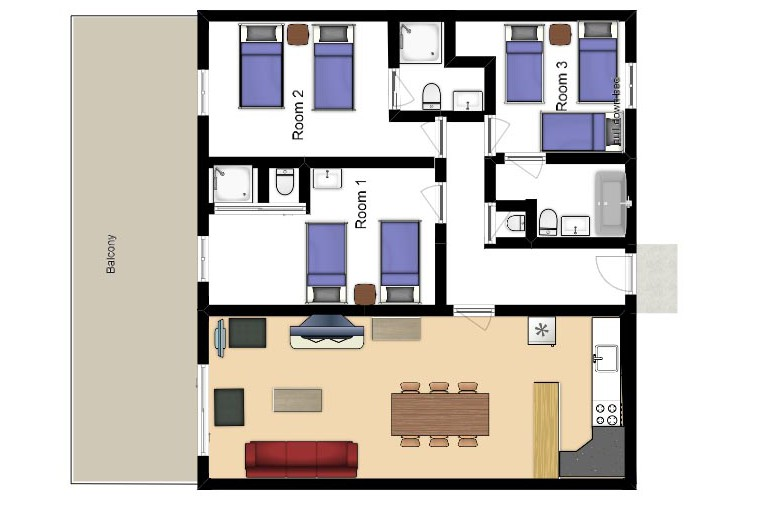 Floor plan of chalet Andre - ski chalet in Meribel, France