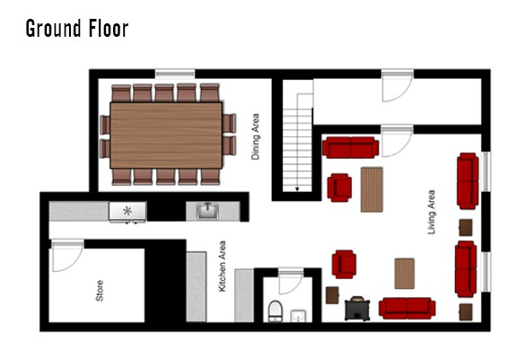 Floor plan of Chalet Chamois Volant, Ground Floor - Les Deux Alpes, France
