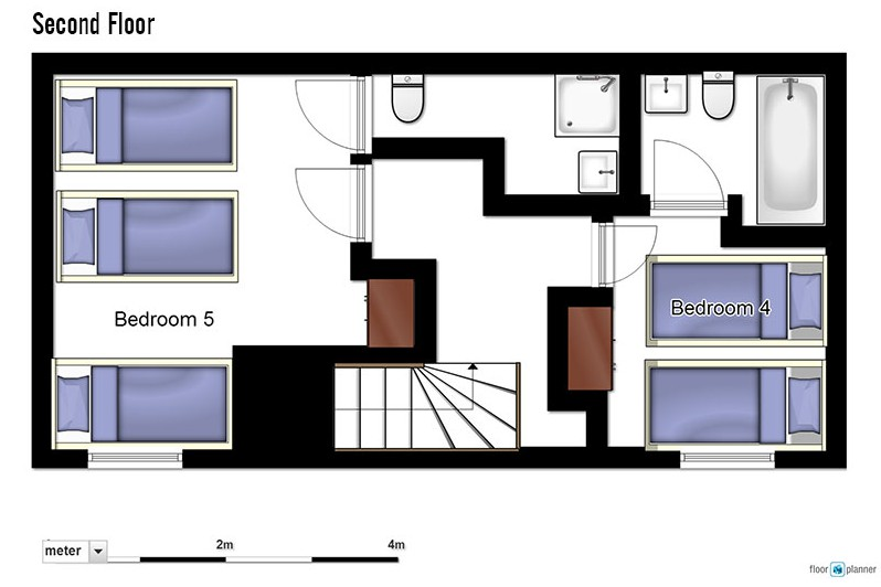 Floor plan of chalet Charmant second floor - ski chalet in La Plagne, France