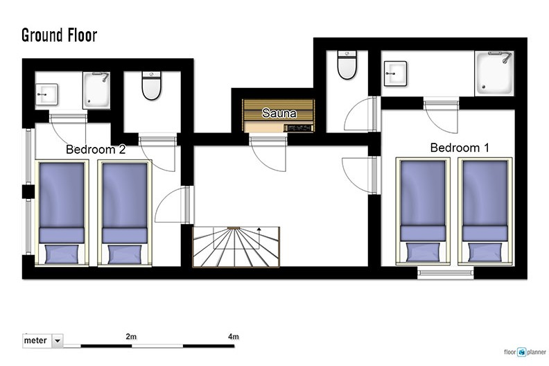 Floor plan of chalet Charmant ground floor - ski chalet in La Plagne, France