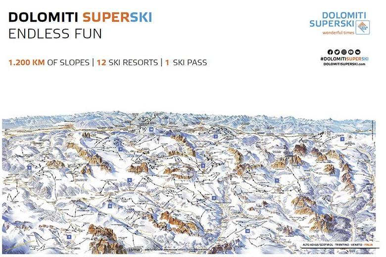 Dolomiti Superski ski area map
