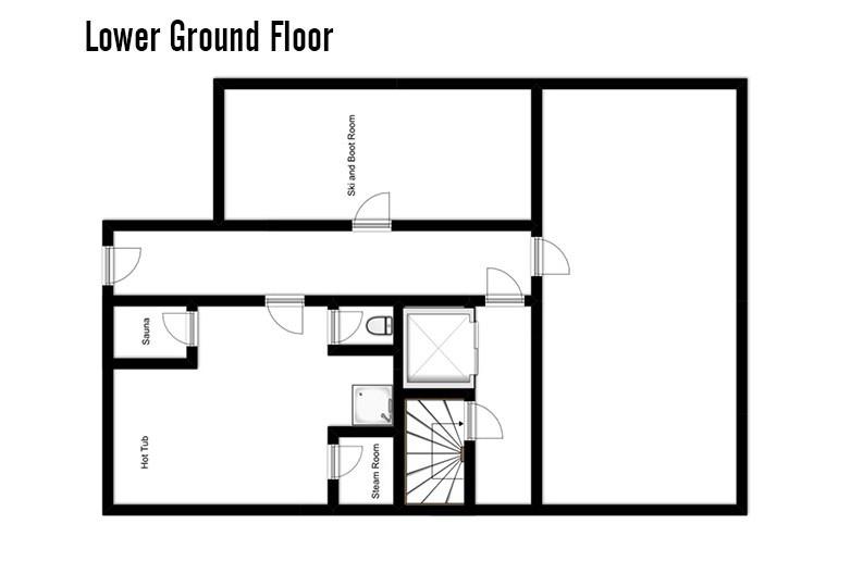 Floor plan of Chalet Dominique, lower ground floor wellness area - ski chalet in Tignes, France