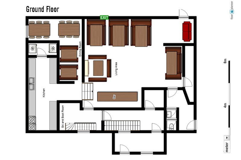 Floor plan of Chalet Lores, ground floor - ski chalet in Val d'Isere, France