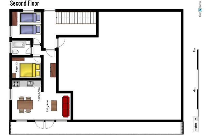 Floor plan of Chalet Lores, second floor - ski chalet in Val d'Isere, France