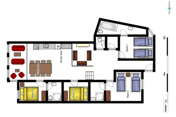 Floor plan of Chalet 2100A, ski chalet in Tignes, France