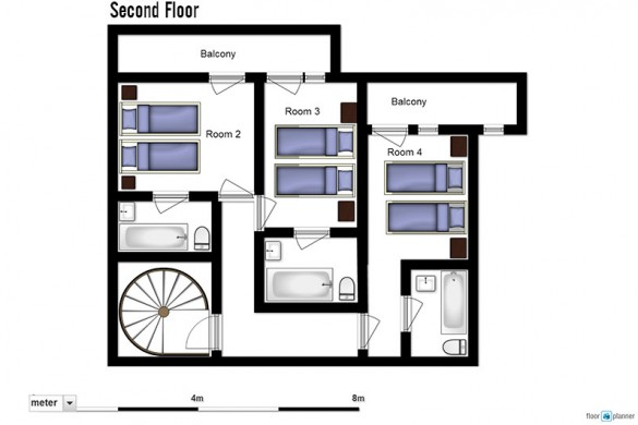 Floor plan of Chalet Abricot, entrance floor - ski chalet in Val Thorens, France