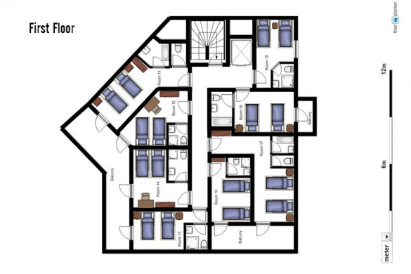 Floor plan of Ski Lodge Aigle, first floor - ski chalet in Tignes, France