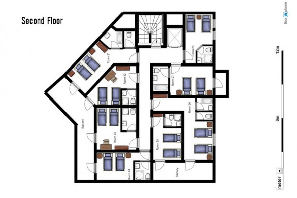 Floor plan of Ski Lodge Aigle, second floor - ski chalet in Tignes, France