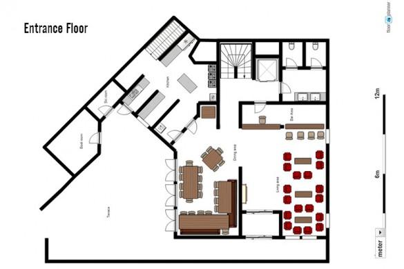 Floor plan of Ski Lodge Aigle, entrance floor - ski chalet in Tignes, France