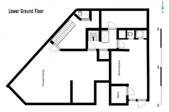 Floor plan of Ski Lodge Aigle, lower ground floor - ski chalet in Tignes, France