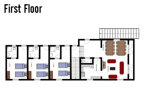 Floor plan of Chalet Alice, First Floor - Ski Chalet in Les Deux Alpes, France