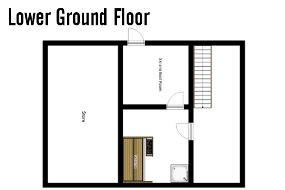 Floor plan of Chalet Alice, Lower Ground Floor - Ski Chalet in Les Deux Alpes, France