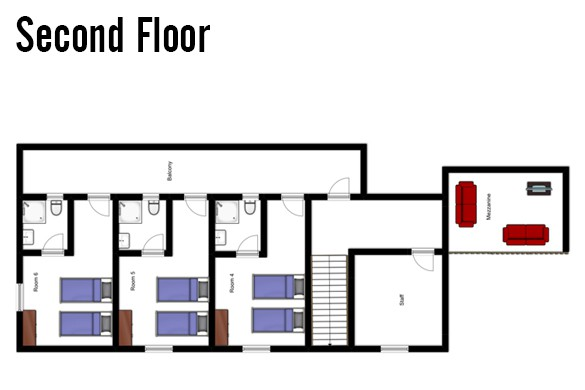 Floor plan of Chalet Alice, Second Floor - Ski Chalet in Les Deux Alpes, France