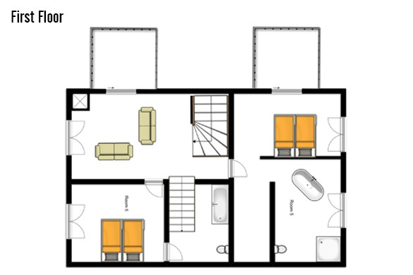 Floor plan of Chalet Altair, first floor - ski chalet in Nendaz, Switzerland