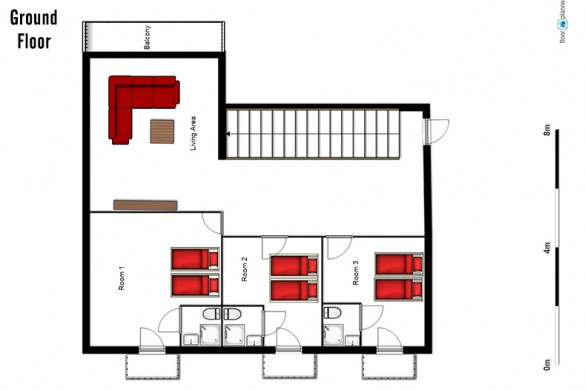 Floor plan of chalet Altepost, ground floor - ski chalet in St Anton, Austria