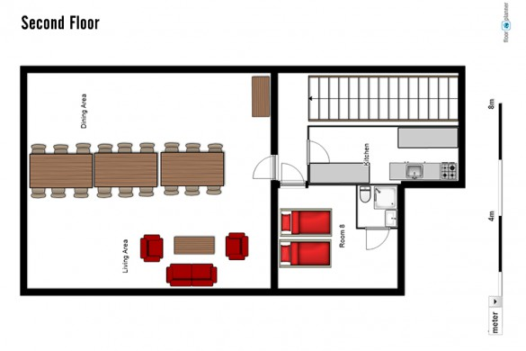 Floor plan of chalet Altepost, second floor - ski chalet in St Anton, Austria