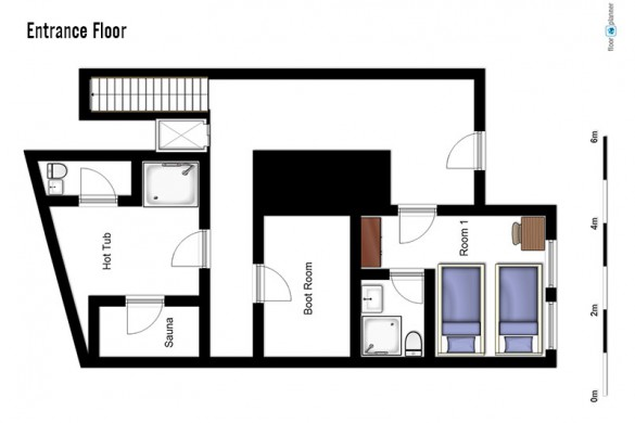 oor plan of Chalet Annapurna II, entrance floor - ski chalet in Tignes, France