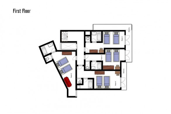 oor plan of Chalet Annapurna II, first floor - ski chalet in Tignes, France