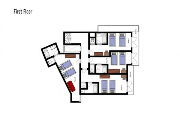oor plan of Chalet Annapurna II, first floor - ski chalet in Tignes, France