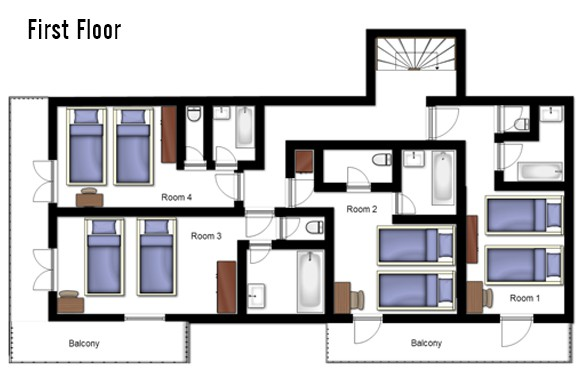 Floor plan of chalet Annapurna 1, First Floor - ski chalet in Tignes, France