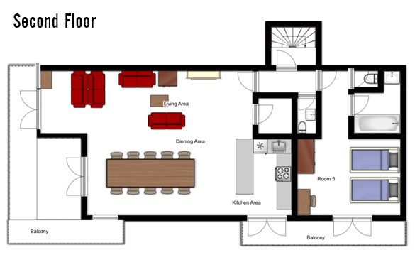 Floor plan of chalet Annapurna 1, Second Floor - ski chalet in Tignes, France