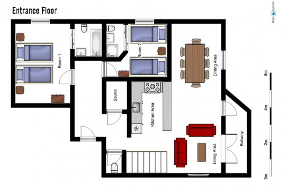 Floor plan of Chalet Annina, entrance floor - ski chalet in Tignes, France