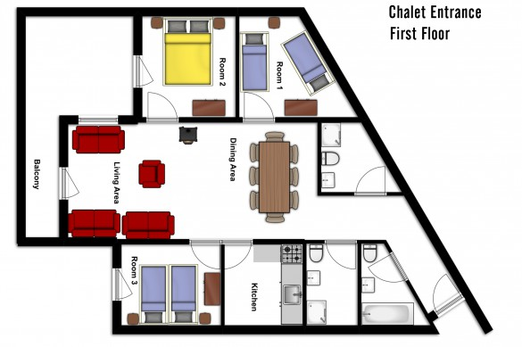 Floor plan of Chalet Aries, first floor - ski chalet in Val Thorens, France