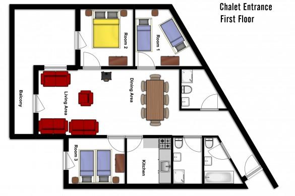 Floor plan of Chalet Aries, first floor - ski chalet in Val Thorens, France