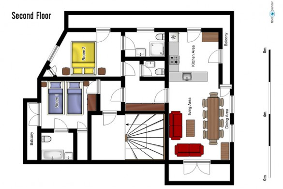 Floor plan of Chalet Arsellaz, second floor - ski chalet in Val d'Isere, France