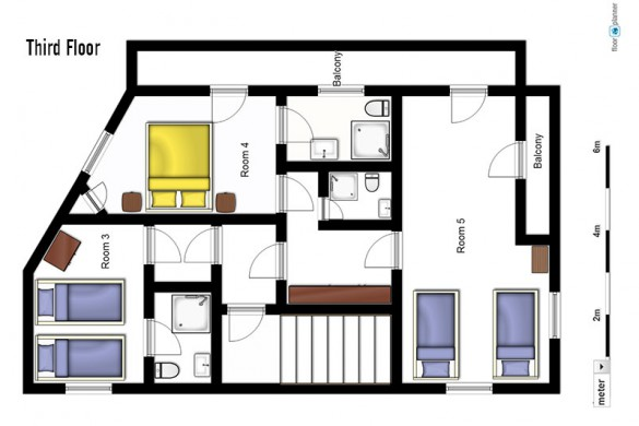 Floor plan of Chalet Arsellaz, third floor - ski chalet in Val d'Isere, France