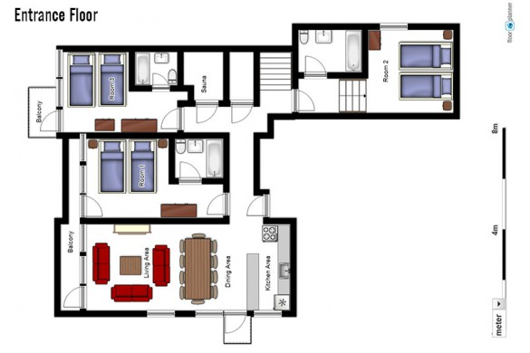 oor plan of Chalet Bouquetin, entrance floor - ski chalet in Tignes, France