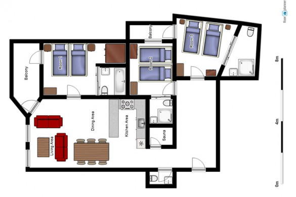 Floor plan of Chalet Carmen, ski chalet in Tignes, France