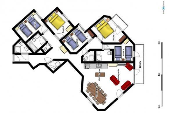 Floor plan of Chalet Caron - ski chalet in Val Thorens, France