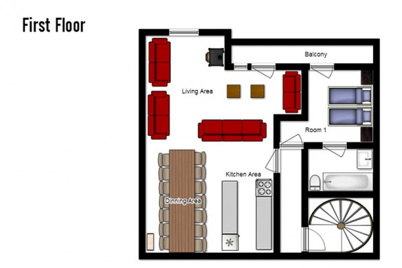 Floor plan of Chalet Cerise, first floor - ski chalet in Val Thorens, France