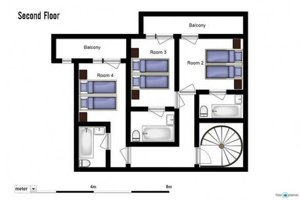 Floor plan of Chalet Cerise, second floor - ski chalet in Val Thorens, France