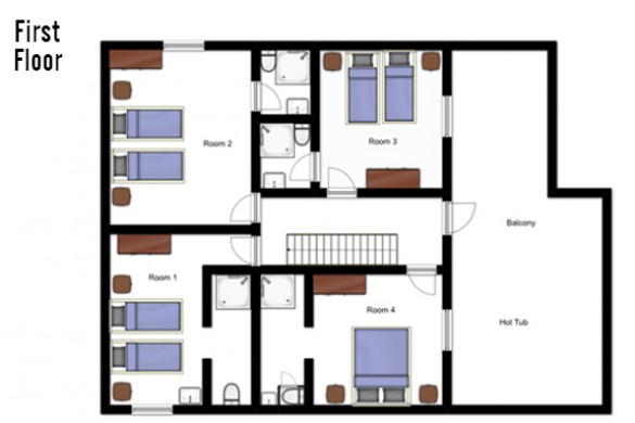 Floor plan of Chalet Chamois Volant, First Floor - Les Deux Alpes, France