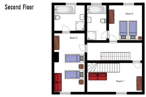 Floor plan of Chalet Chamois Volant, Second Floor - Les Deux Alpes, France