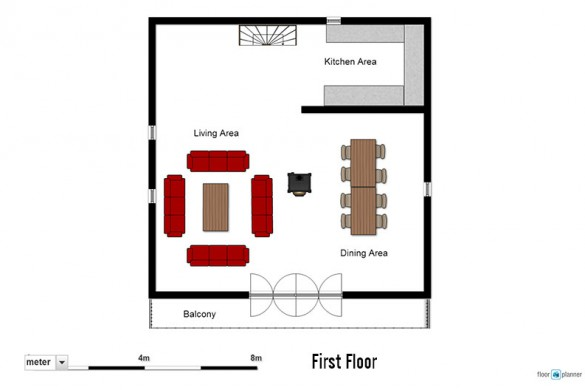 Floor plan of chalet Cicero, first floor - ski chalet in Les Arcs, France