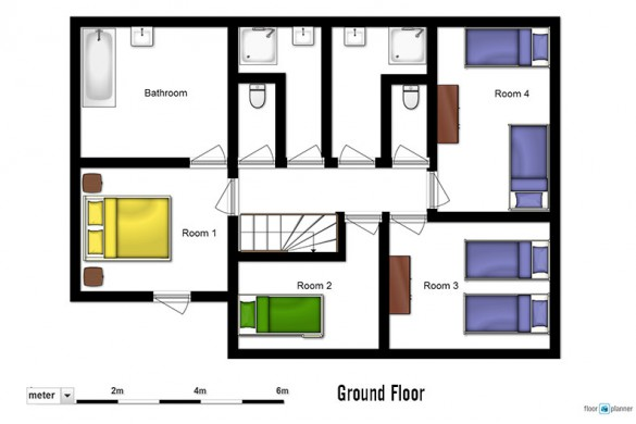 Floor plan of chalet Cicero, ground floor - ski chalet in Les Arcs, France