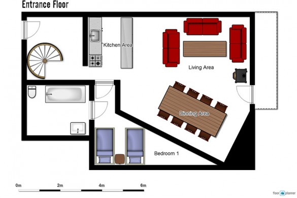 Floor plan of Chalet Clementine, entrance floor - ski chalet in Val Thorens, France